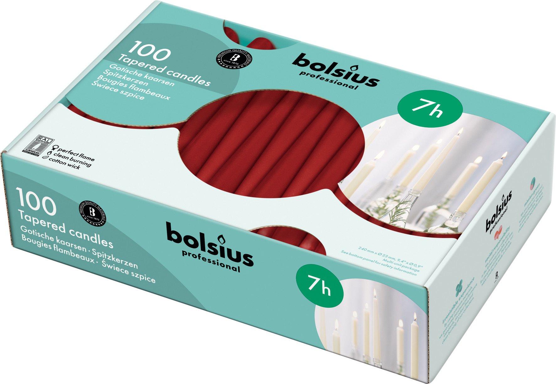 Bolsius | Gotische kaarsen | Wijnrood | 100 stuks