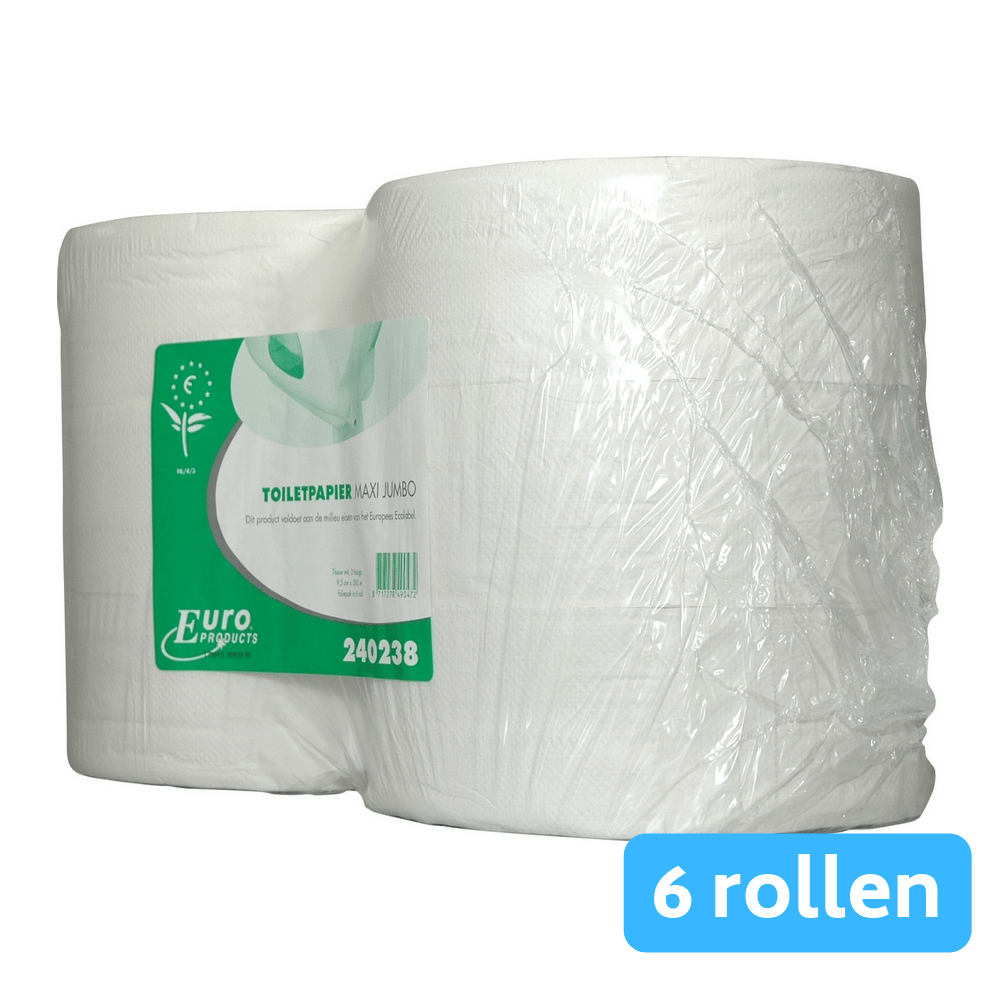 Euro Products | Toiletpapier 2-laags | Maxi jumborol | Wit | 6 x 380 meter