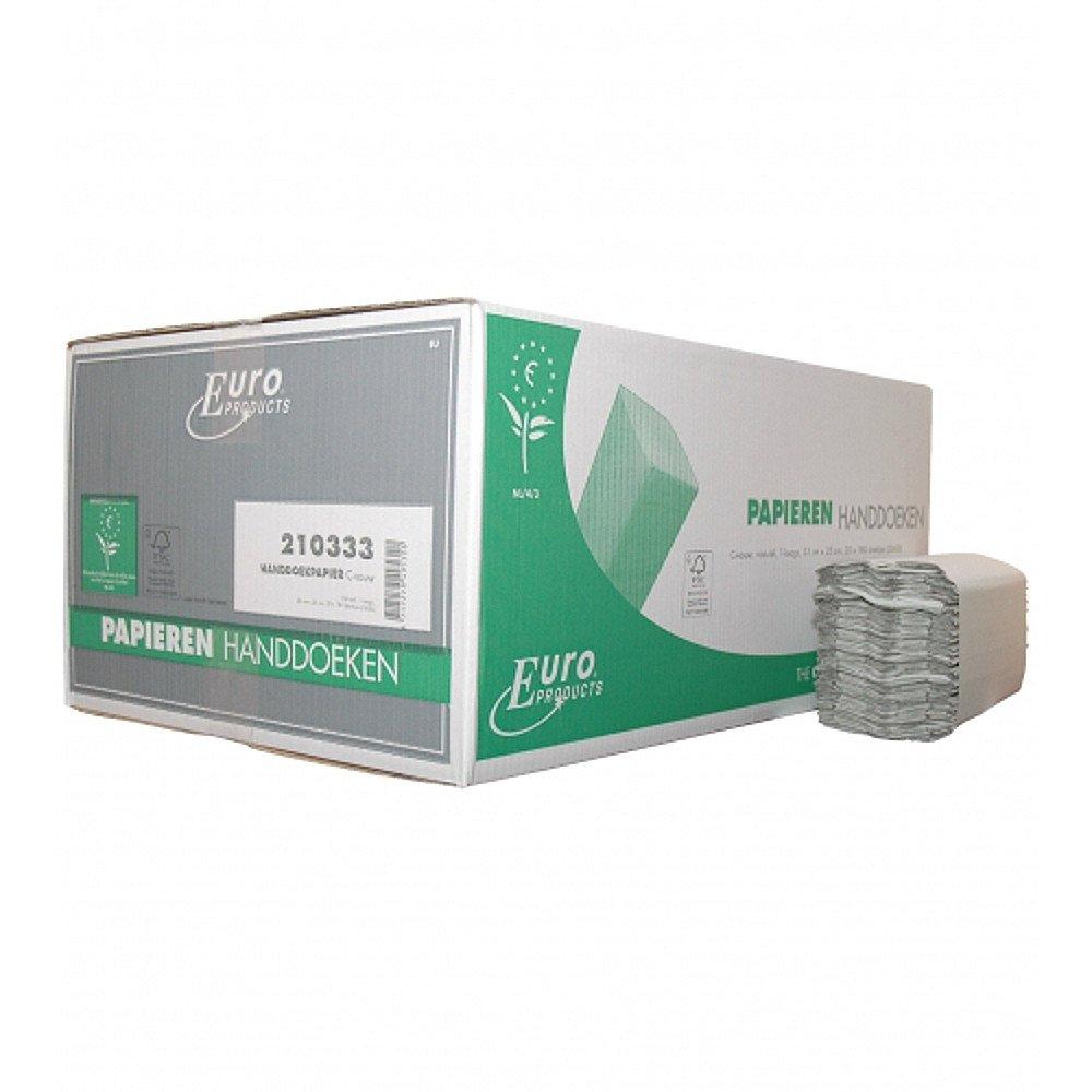 Euro Products | Vouwhanddoekjes 1-laags recycled | C-vouw | 25 x 33 cm | 20 x 180 stuks