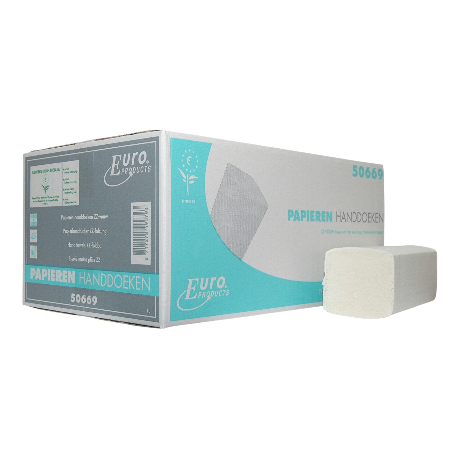 Euro Products | Z- vouwhanddoekjes | 2-laags tissue | 21 x 24 cm | 20 x 160 stuks