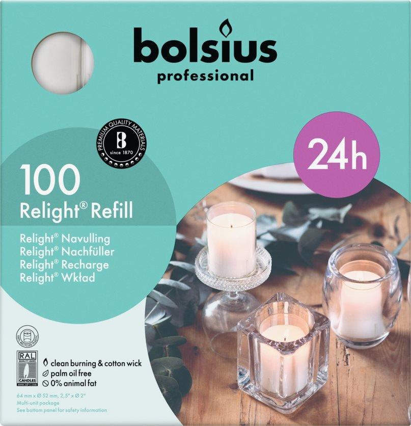 Bolsius   Relight transparant kaarsen   Navulling 100 stuks