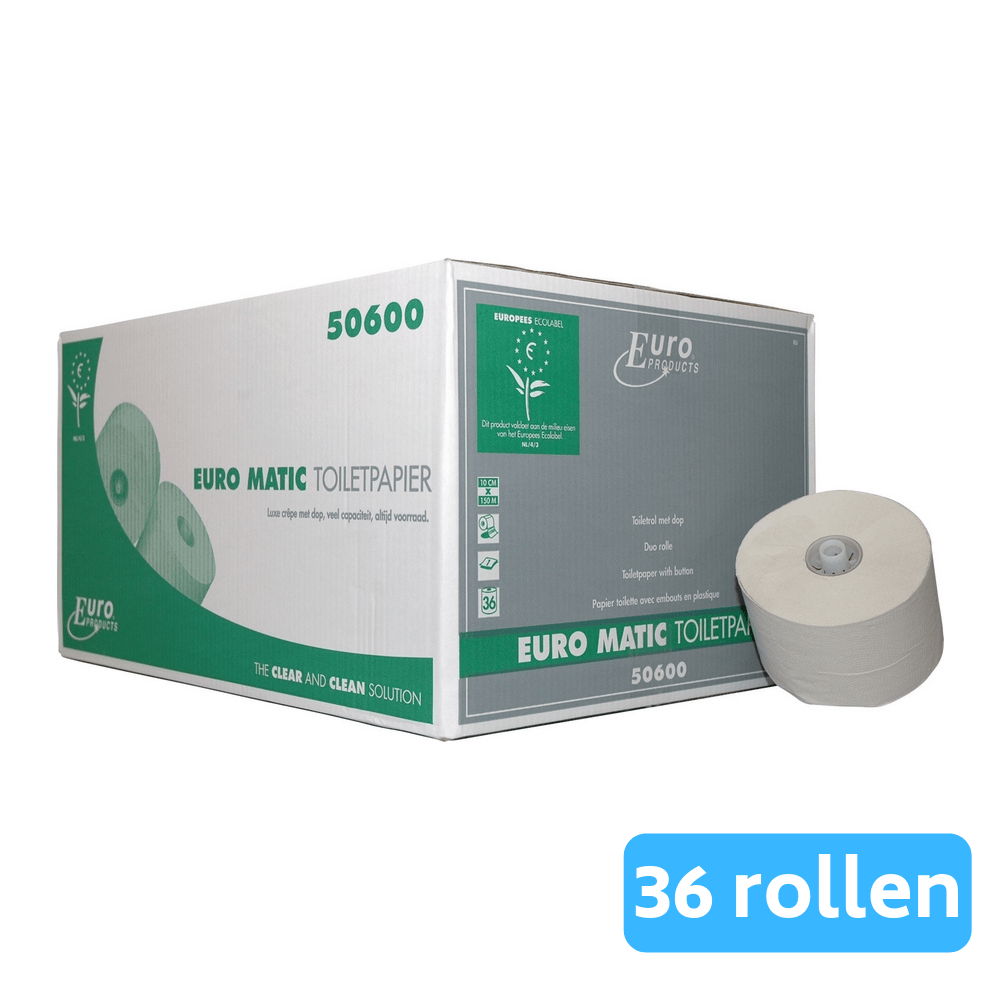 Toiletpapier 1-laags Doppenrol recycled wit 36 x 150 meter