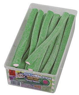 Mega Stars | Fizzy jumbo sticks | Watermeloen | 40 stuks