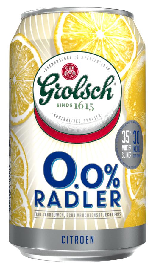 Grolsch | Radler Lemon | 0% Alcoholvrij | Blik 24 x 33 cl