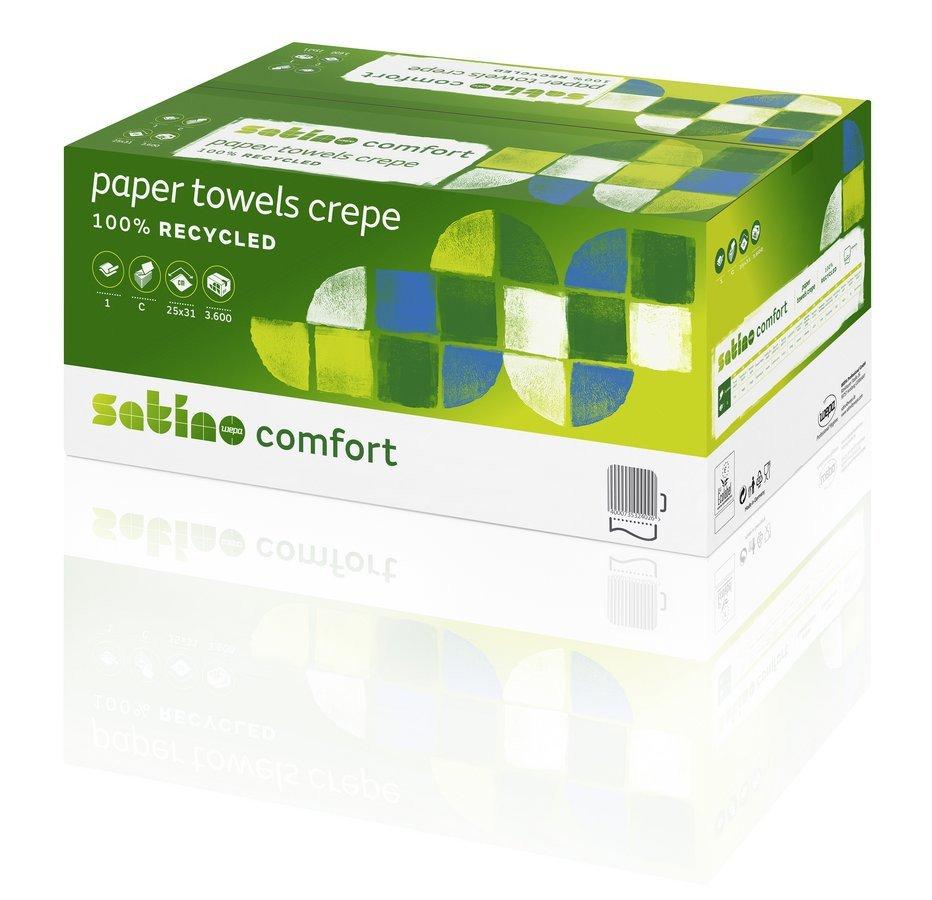 Satino Comfort 277191 vouwhanddoekjes 2-laags ZZ-vouw wit 23 x 25 cm 3200 stuks