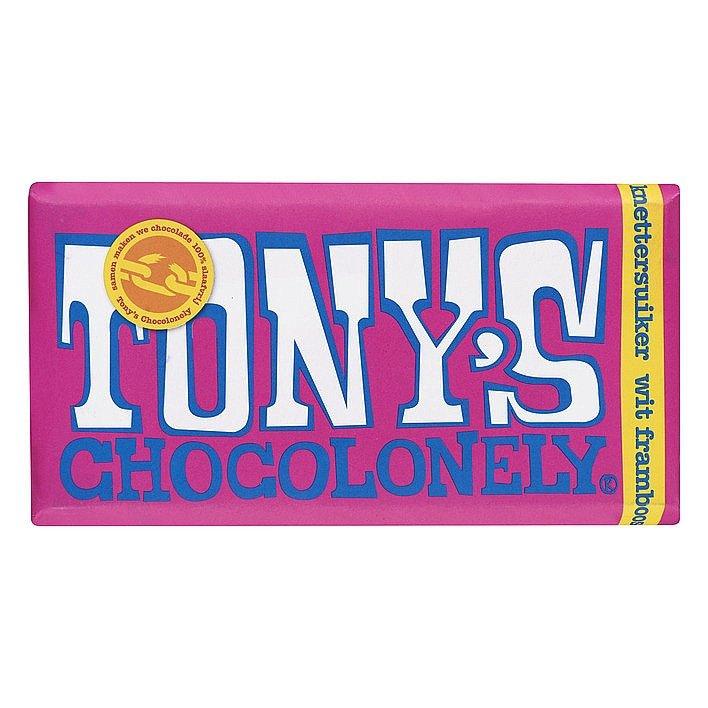 Tony's Chocolonely Witte choco framboos knettersuiker 15 stuks
