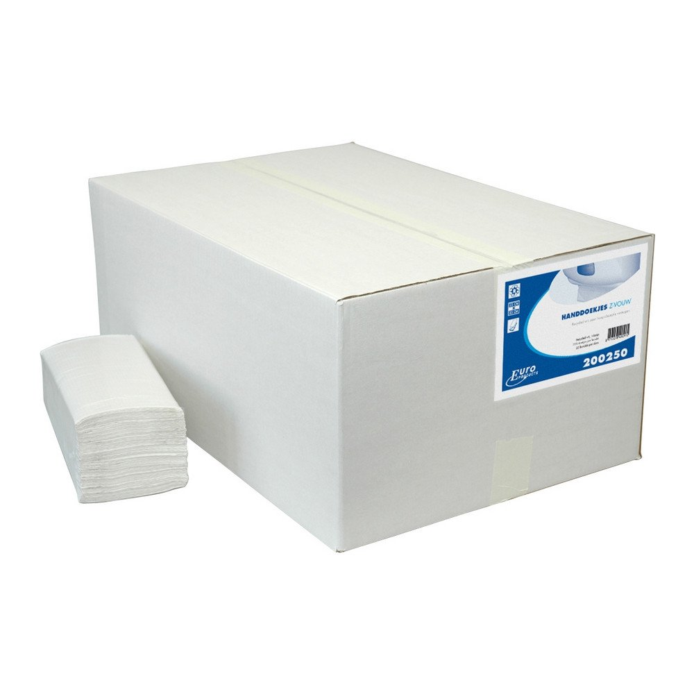 Euro Products   Z-vouwhanddoekjes   1-laags recycled   23 x 25 cm   5000 stuks