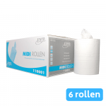Midi rol 1-laags cellulose wit 6x275mtr 24cm zonder koker