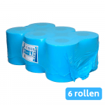 Midi rol 1-laags recycled tissue blauw 6 x 300 meter