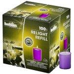 Bolsius   Relight Refill   Paarse kaarsen   Navulling 100 stuks