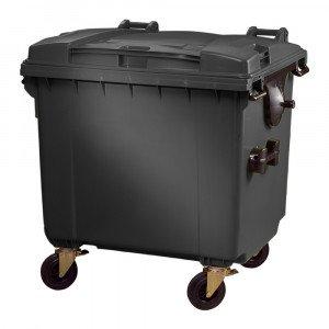 Container met deksel en wielen 1100 liter grijs