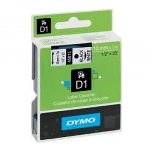 Dymo D1 tape zwart op wit 12 mm x 7 m